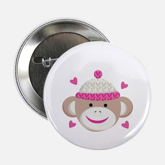 "Sock Monkey Cute 2.25"" Button"