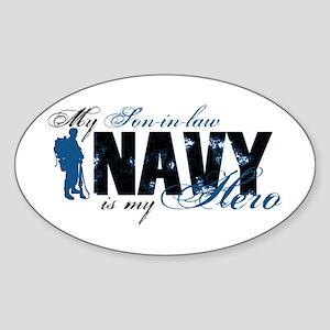Son-in-law Hero3 - Navy Sticker (Oval)