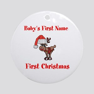Personalized First Christmas Ornament (Round)