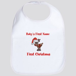Personalized First Christmas Bib