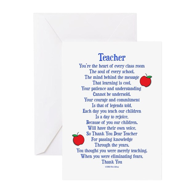 Teacher thank you greeting cards pk of 10 by nikiclix m4hsunfo Gallery
