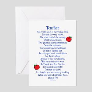 Thank you teacher greeting cards cafepress teacher thank you greeting card m4hsunfo