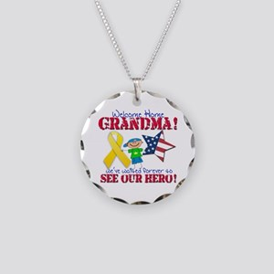 Welcome Home Grandma Necklace Circle Charm
