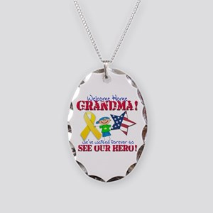 Welcome Home Grandma Necklace Oval Charm