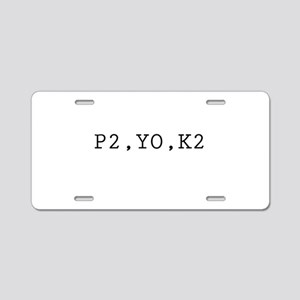 Knitting Code (P2, YO, K2) Aluminum License Plate