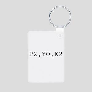 Knitting Code (P2, YO, K2) Aluminum Photo Keychain