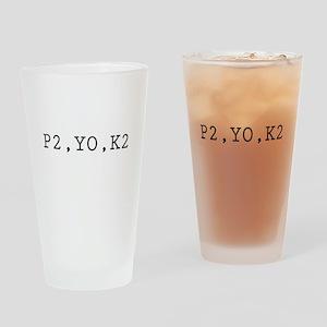 Knitting Code (P2, YO, K2) Drinking Glass