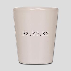 Knitting Code (P2, YO, K2) Shot Glass