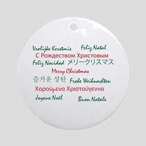 Merry Christmas in Many Languages Ornament (Round)