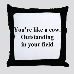 outstanding cow Throw Pillow