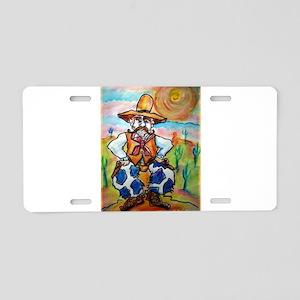 Cowboy, colorful, art, Aluminum License Plate