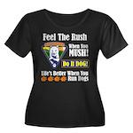 Feel The Rush!! Women's Plus Size Scoop Neck Dark