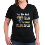Feel The Rush!! Women's V-Neck Dark T-Shirt