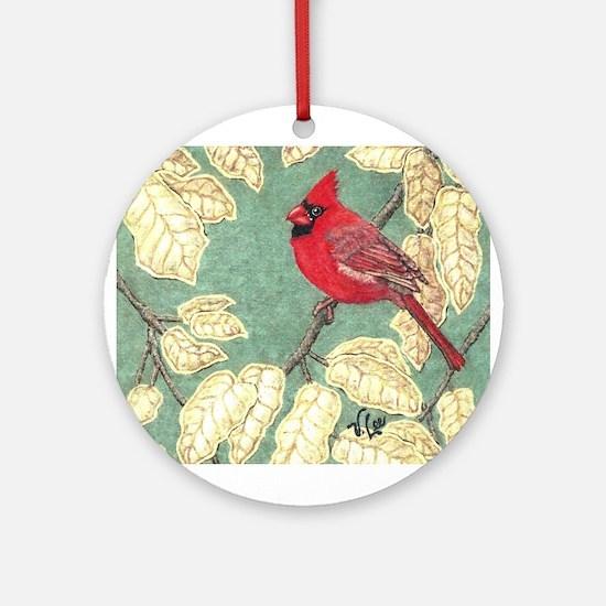 """MALE CARDINAL"" Ornament (Round)"