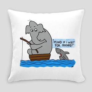 elephant and shark Everyday Pillow