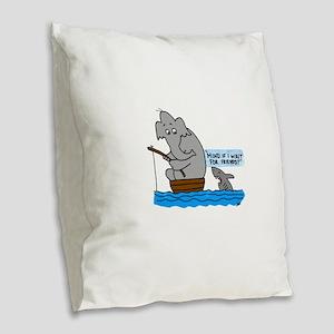 elephant and shark Burlap Throw Pillow