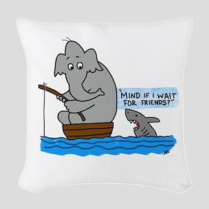 elephant and shark Woven Throw Pillow