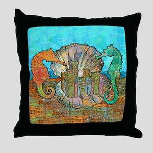 Sea Horse Castle Throw Pillow