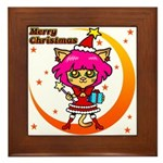 Xmas cat Framed Tile