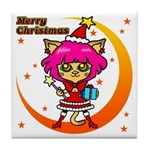 Xmas cat Tile Coaster