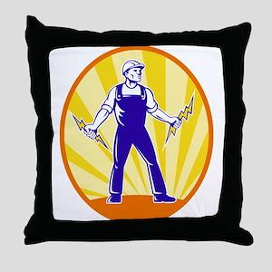 power lineman electrician Throw Pillow