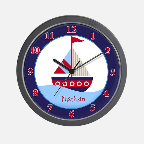 Little Sailboat Navy/Red Wall Clock - Nathan