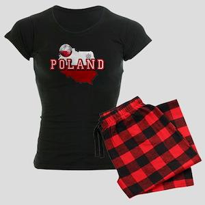 Polish Flag Map Women's Dark Pajamas