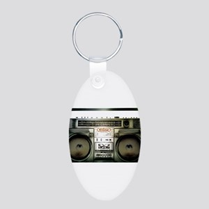 RETRO BOOMBOX Aluminum Oval Keychain
