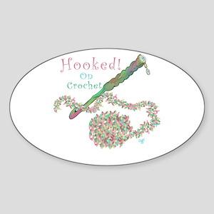 Hooked On Crochet Sticker (Oval)