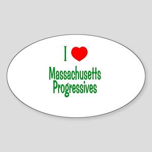 I Love MA Progressives Oval Sticker
