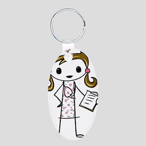 Cute Nurse Aluminum Oval Keychain