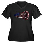 Lacrosse FlagHead Women's Plus Size V-Neck Dark T-