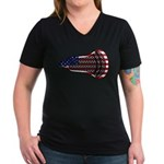 Lacrosse FlagHead Women's V-Neck Dark T-Shirt