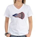 Lacrosse FlagHead Women's V-Neck T-Shirt