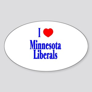 I Love Minnesota Liberals Oval Sticker