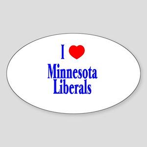 I Love Minnesota Liberals Oval Sticker