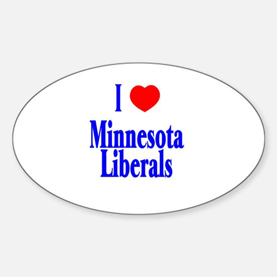 I Love Minnesota Liberals Oval Decal