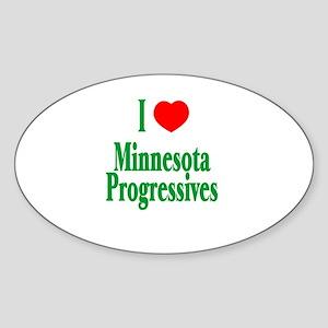 I Love Minnesota Progressives Oval Sticker