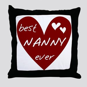 Heart Best Nanny Ever Throw Pillow