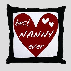 Heart Best Nanny Ever Throw Pillow