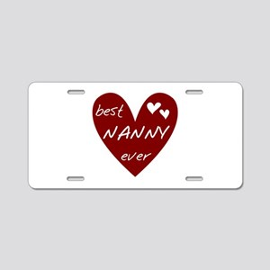 Heart Best Nanny Ever Aluminum License Plate
