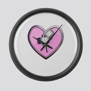 Barbell Heart (pink) Large Wall Clock