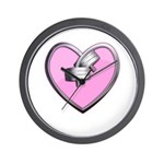 Barbell Heart (pink) Wall Clock
