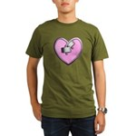 Barbell Heart (pink) Organic Men's T-Shirt (dark)