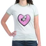 Barbell Heart (pink) Jr. Ringer T-Shirt