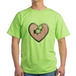 Barbell Heart (pink) Green T-Shirt