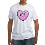 Barbell Heart (pink) Fitted T-Shirt