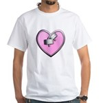 Barbell Heart (pink) White T-Shirt