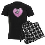 Barbell Heart (pink) Men's Dark Pajamas