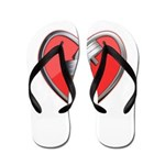 Barbell Heart (red) Flip Flops